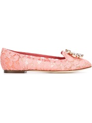 Dolce And Gabbana Floral Lace Ballerinas Pink And Purple
