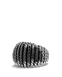 David Yurman Tempo Ring With Black Spinel Black Silver