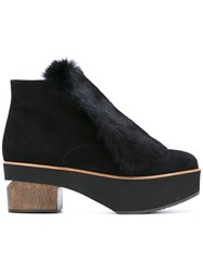 Paloma Barcelo Faux Fur Platform Booties Black