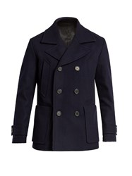 Ami Alexandre Mattiussi Double Breasted Wool Blend Pea Coat Navy