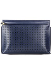 Loewe Dots T Pouch Leather Clutch Blue