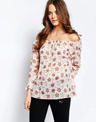 Ichi Carina Floral Print 3 4 Sleeve Top Cloud Dancer White