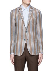 Lardini Stripe Linen Cotton Soft Blazer Brown