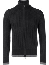 Emporio Armani Ribbed Zip Up Fleece Grey