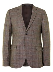 Topman Brown And Burgundy Check Skinny Fit Suit Jacket