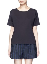 Vince Scoop Neck Cotton T Shirt Black