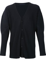 Homme Plisse Issey Miyake Snap Button Pleated Cardigan Blue