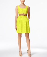 Nine West Belted Burnout Fit And Flare Dress Yellow