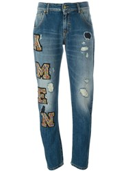 Amen Distressed Beaded Logo Patch Straight Leg Jeans Blue