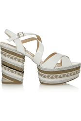 Paloma Barcelo Braided Patent Leather Platform Sandals Ivory