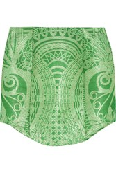 Balmain Printed Woven Faux Raffia Skirt Green