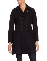 Karl Lagerfeld Double Breasted Wool Blend Coat Black