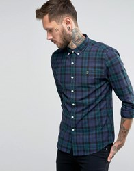 Farah Shirt With Tartan Flannel Check In Slim Fit Blue Yale