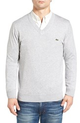 Lacoste Men's Cotton Jersey V Neck Sweater Silver Grey Chine
