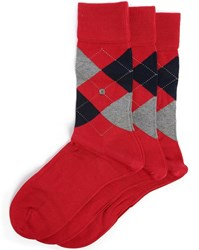 Burlington 3 Pair Pack Of Manchester Red And Checked Socks