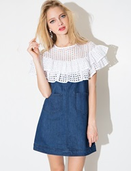 Pixie Market Denim Eyelet Dress