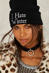 Jac Vanek I Hate Winter Embroidered Beanie Black