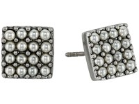 Marc Jacobs Pearl Square Studs Earrings Cream Antique Silver Earring