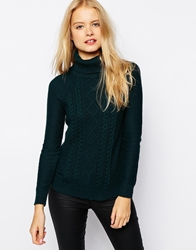 Esprit Roll Neck Cable Knit Jumper Teal