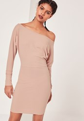 Missguided Slouchy One Shoulder Mini Dresses Nude Beige