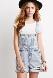Forever 21 Faded Short Overalls Light Denim