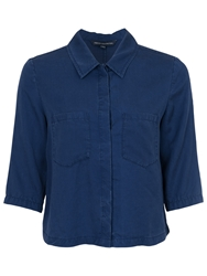 French Connection Cropped Shirt Prussian Blue