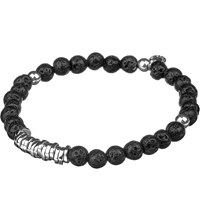 Tateossian Silver Disc Beaded Bracelet Black