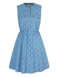 Yumi Polka Dot Print Denim Shirt Dress Blue