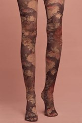 Anthropologie Bouquet Tights Red Motif