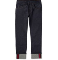 Gucci Cropped Stretch Denim Jeans Blue