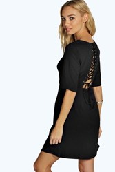 Boohoo Lace Up Back Detail Skater Dress Black