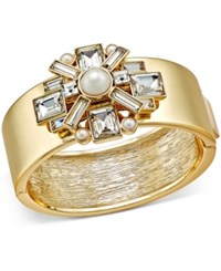 Charter Club Gold Tone Crystal And Imitation Pearl Hinged Bangle Bracelet Only At Macy's