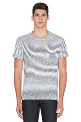 7 For All Mankind Horizontal Stripe Tee Blue
