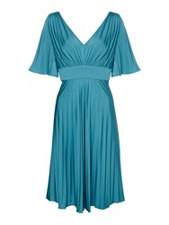 Biba Pleated Luxe Occasion Dress Teal