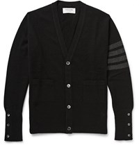Thom Browne Striped Cashmere Cardigan Black