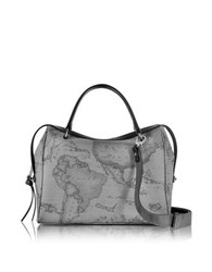 Alviero Martini Geo Dark Canvas And Leather Medium Satchel Bag Dark Gray