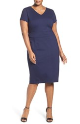 Sejour Plus Size Women's Ponte Knit V Neck Sheath Dress Navy Peacoat
