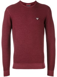 Armani Jeans Logo Patch Pullover Red