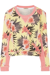 Emma Cook Cropped Daffodil Print Cotton Terry Sweatshirt Pink