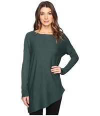 Splendid Asymmetrical Hem Pullover Dark Pine Women's Long Sleeve Pullover Green