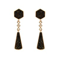 Biba Rose Gold Deco Crystal Fabric Earrings