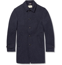 Oliver Spencer Woven Wool Overcoat Blue