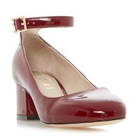 Biba Bonnet Ankle Strap Block Heel Court Shoes Burgundy