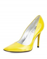 Roger Vivier Patent Leather Point Toe Pump G208 Giall