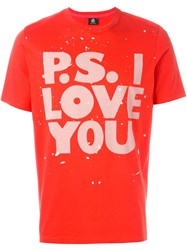 Paul Smith Ps By 'P.S. I Love You' Print T Shirt Red