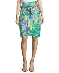 Paperwhite Graphic Print Tie Front Pencil Skirt Multicolor