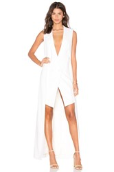 Olcay Gulsen Crepe Wool Double Layer Longtail Dress Ivory