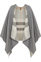 Burberry London London Reversible Checked Merino Wool Wrap Gray