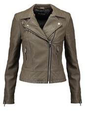 Miss Selfridge Molly Faux Leather Jacket Dark Green