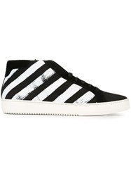 Off White Striped Hi Top Sneakers Black